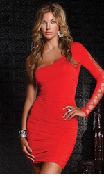 Red Mini Dress with One Sleeve Design