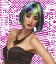 Blue and Green Bob Style Wig with Bangs (Seashell Blue)