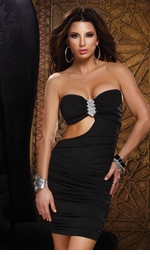 Black Strapless Mini Dress with Cutout Side
