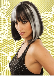 Black and White Bob Style Wig with Bangs (Eclipse)
