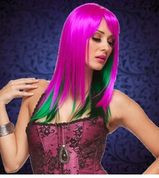 Two Tone Magenta/Green Layered Straight Wig with Side Swept Bangs