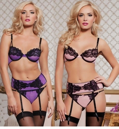Mesh and Lace Bra, Garter Belt and Panty