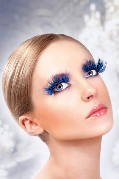 Blue Feather Fake Eyelashes