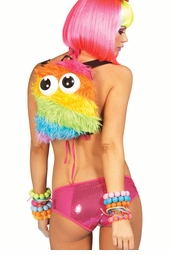 Rainbow Faux Fur Moster Backpack