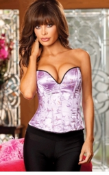 Strapless Lilac Satin Corset with Lace-up Back