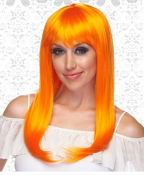 Vixen Long Hair Wig with Full Bangs in Orange