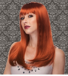 Vixen Long Hair Wig with Full Bangs in Auburn Red