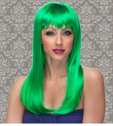 Vixen Long Hair Wig with Full Bangs in Green