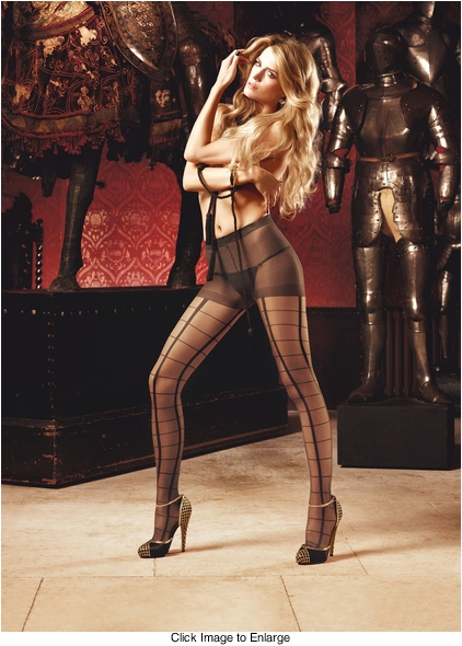 Sheer Cage Black Pantyhose