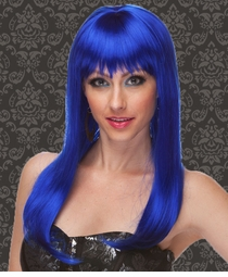 Vixen Long Hair Wig with Full Bangs in Dark Blue