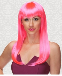 Vixen Long Hair Wig with Full Bangs in Hot Pink