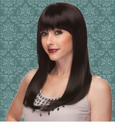 Vixen Long Hair Wig with Full Bangs in Onyx Black