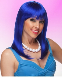 Alluring Shoulder Length Wig with Full Bangs in Dark Blue