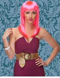 Alluring Shoulder Length Wig with Full Bangs in Hot Pink