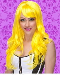 Long Wig with Tousled Curls and Face Framing Bangs in Yellow