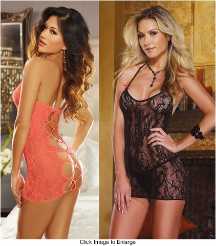 Lace Dress with Criss Cross back and Thong