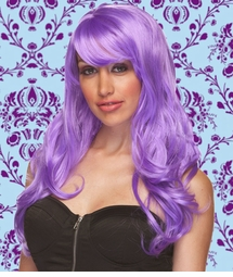 Long Wig with Tousled Curls and Face Framing Bangs in Lavender