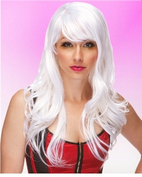 Long Wig with Tousled Curls and Face Framing Bangs in White