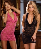 Stretch Lace Mini Dress With Halter Front and Thong