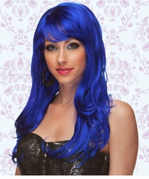 Long Wig with Tousled Curls and Face Framing Bangs in Dark Blue
