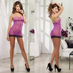 Fishnet Mini Dress with Lace Trim and G-string