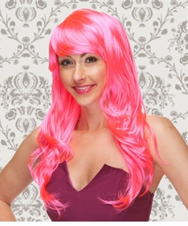 Long Wig with Tousled Curls and Face Framing Bangs in Hot Pink