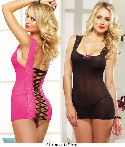 Stretch Mesh Mini Dress with Lace-Up Back