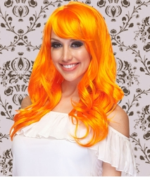 Long Wig with Tousled Curls and Face Framing Bangs in Orange