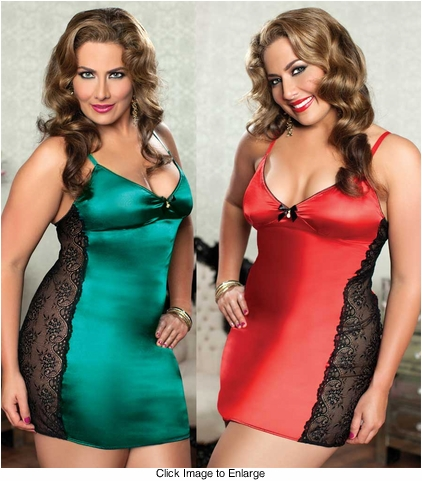 Plus Size Lace and Satin Mini Dress and Thong