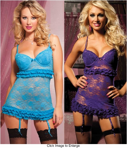 Push-Up Lace Mini Dress and Thong