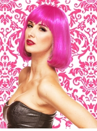 Edgy Page Style Wig in Hot Pink