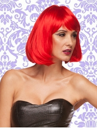 Edgy Page Style Wig in Firecracker Red