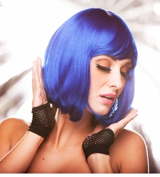 Edgy Page Style Wig in Dark Blue