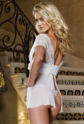 Lace and Mesh Babydoll with Open Back and Thong