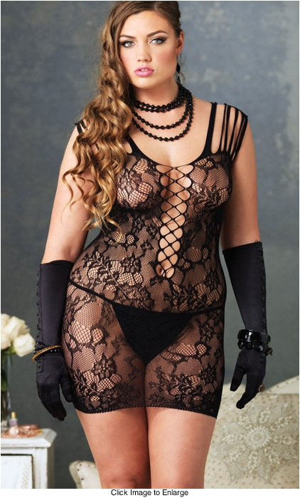 Plus Size Floral Lace Mini Dress with Shredded Strsps