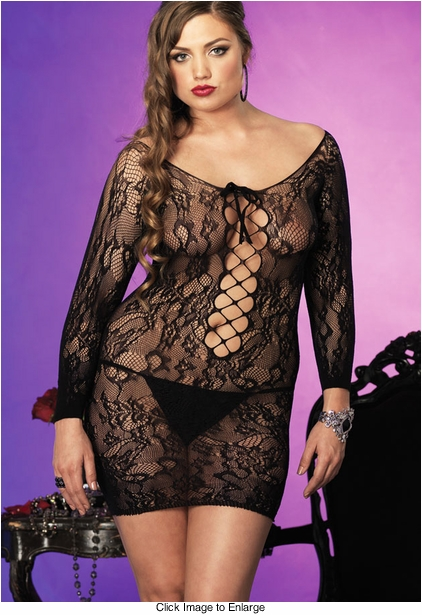 Plus Size Long Sleeve Lace Dress with lace-Up Detail