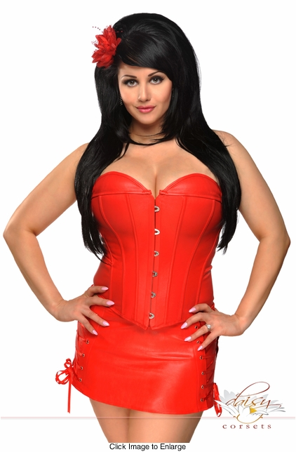 Vegan Leather Red Corset & Skirt Set