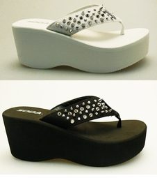 "3"" Platform Flip Flops with Spiked Accents"