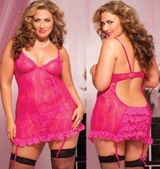 Plus Size Paisley Lace Mini Dress and Thong