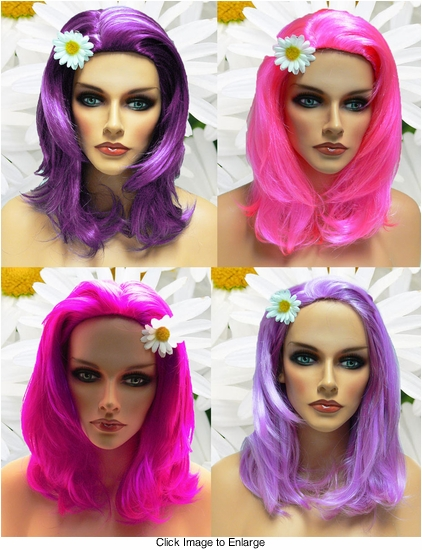 Textured Glamour Wigs in Purple Shades
