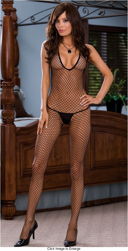 Diamond Net Halter Front Bodystocking