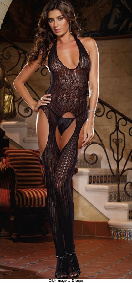 Seamless Crochet Stripe Halter Bodystocking