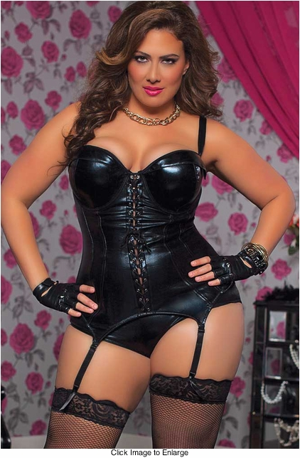 Plus Size Wet Look Bustier Corset with Boyshorts