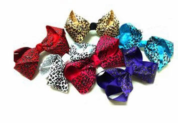 "Large 5.5"" Leopard Print Ribbon Bow Hair Clip"