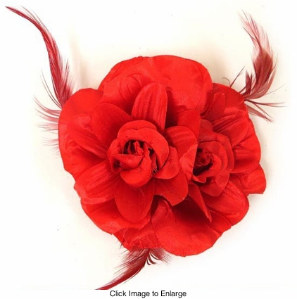 "4.5"" Double Rose Flower Hair Clip"