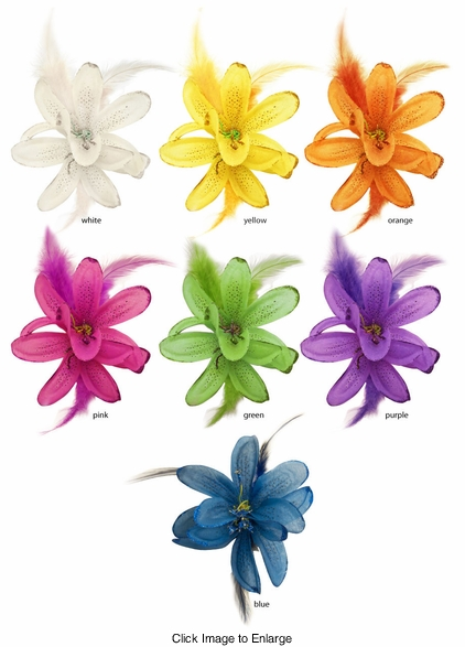 "4"" Flower Hair Clip with Feather Accents (available in 7 colors)"