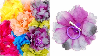 "6"" Silky Flower Hair Clip (available in 6 colors)"