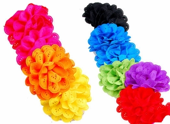 "4"" Ribbon Flower Hair Clip (available on 8 colors)"