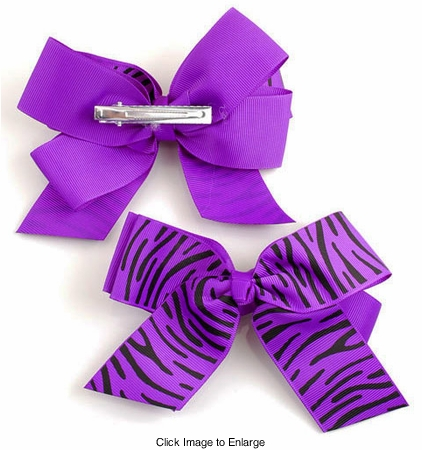 "5"" Zebra Print Ribbon Bow Hair Clip (available in 7 colors)"