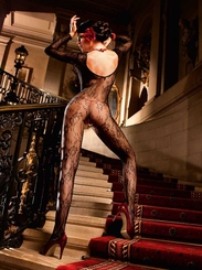 Long Sleeve Floral Fishnet Bodystocking